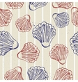 Seamless blue texture with clams vector image