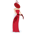 Classy lady in red dress vector image