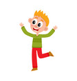 cute happy teenage boy raising hands up in joy vector image