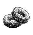donuts sketch cakes pastry food hand drawn vector image