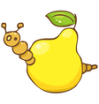 Funny worm in the pear vector image