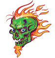 green skull sketch design on white background vector image