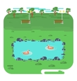 landscape with lake in park vector image
