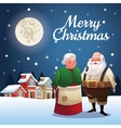 Santa and wife cartoon of Christmas season vector image