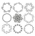 set of circle isolated frames cute natural round vector image
