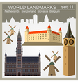 World landmarks icon set Elements for creating vector image