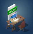 concept of a vacant workplace vector image