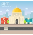 church building in city space with road on flat vector image