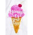 Ice cream its your day vector image vector image
