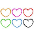 doodle hearts in six colors vector image