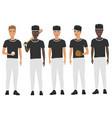 flat school baseball guys team in uniform vector image