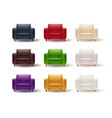 set of colored armchairs vector image