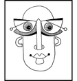 unusual hand draw with a male face portrait in vector image