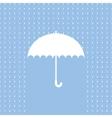 White umbrella symbol on blue background vector image