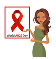 woman red ribbon worlds aids day awareness female vector image