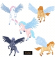 Vintage set of winged pegasus vector image