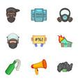 revolt icons set cartoon style vector image