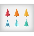 Set of simple colorful Christmas trees vector image vector image