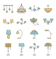 Line lamp icon set flat design vector image