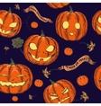 Halloween seamless background with pumpkin vector image vector image