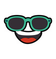 Cartoon face with sunglasses icon vector image