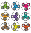 colorful seamless pattern of spinner on white vector image