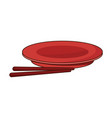 drawn plate and chopsticks food chinese vector image