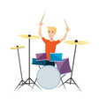 drummer playing drums on white background vector image