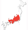 Map of Japan with national flag vector image