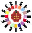 Set of colorful nail polish bottles Nails vector image