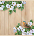 white flowers and bird vector image
