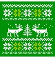 Knitted scandinavian scarf with deer vector image