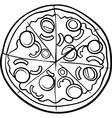 italian pizza cartoon coloring page vector image vector image
