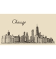 Chicago skyline big city engraving drawn vector image