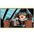 Girl retro pilot on the plane vector image