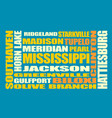 mississippi state cities list vector image