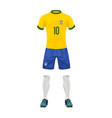 realistic soccer uniform of a brazil team vector image