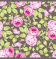 seamless floral pattern with pink roses and leaves vector image