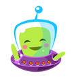 funny smiley alien cute cartoon monster colorful vector image vector image