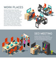 business banners design with isometric vector image