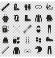 equipment for winter sports silhouette icons with vector image