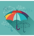 Card with umbrellas in flat design style vector image vector image