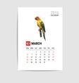 2016 March calendar parrot polygon vector image