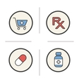 Pharmacy color icons set vector image