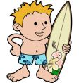 young surfer with board vector image vector image