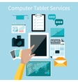Computer tablet services vector image