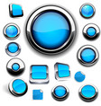 Blue round buttons on white vector image