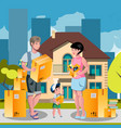 family moved into a new house vector image