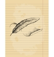 Feather and parchment drawing ink pen vector image