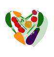 fresh juicy vegetables in shape of heart vector image